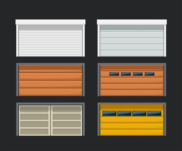 Garage doors set on dark