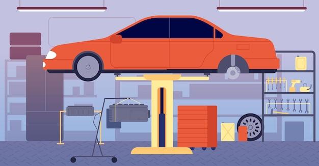 ガレージインテリア。車の修理サービス、工具機器の保管。自動車、家の空のワークショップルームのベクトル図の技術インベントリ。自動車修理設備、カーサービスガレージインテリア