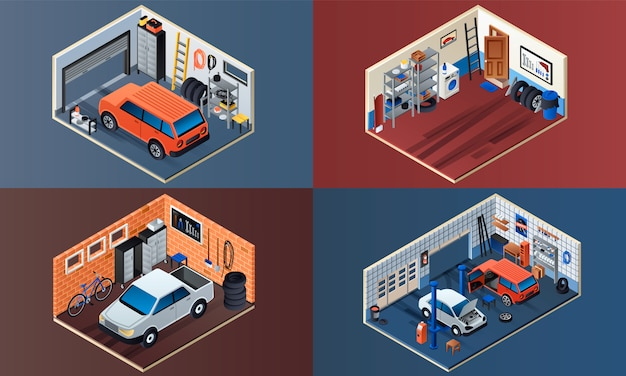 Garage interior illustration set. isometric set of garage interior