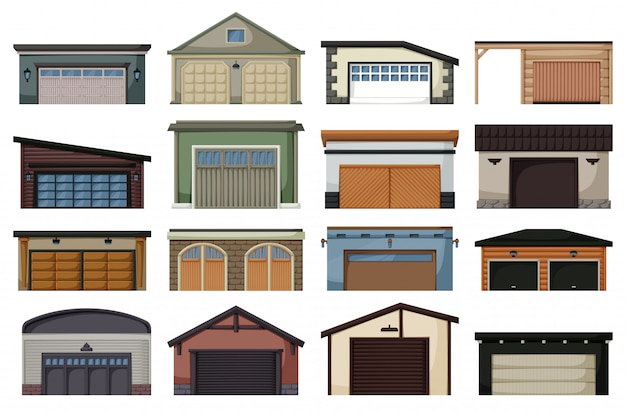 Garage isolated cartoon set icon.   cartoon set icon car house.   illustration garage
