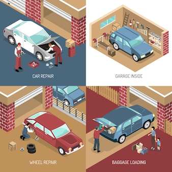 Garage isometric design concept