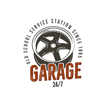 Garage old school service station label. vintage tee design graphics, complete auto repair typography print.