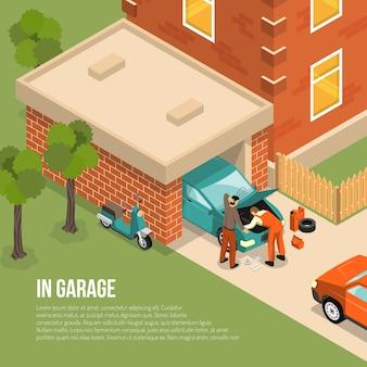 Garage outside isometric illustration