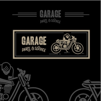 Garage parts and service label background