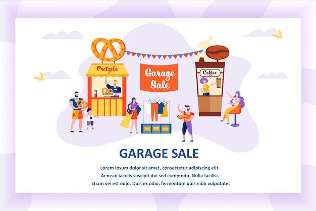 Garage sale banner happy people walking at park