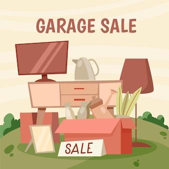 항목과 차고 판매 개념