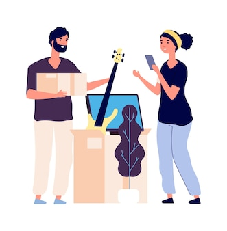 Garage sale. couple collecting supplies for flea marker. family moving new home. isolated man woman with boxes vector illustration. woman and man collect things in cardboard Premium Vector