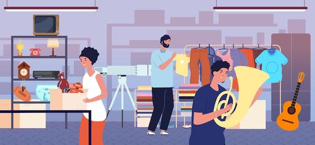 창고 세일. 벼룩시장, 사람들 옷 바자회. 동네 커뮤니티 중고 상점, 쇼핑객은 패션 천 장난감 벡터 삽화를 구입합니다. 판매 차고, 시장 바자회 의상