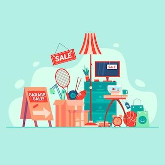 Концепция распродажи вещей в гараже