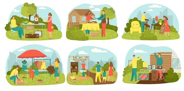Гаражная распродажа старых антикварных товаров для двора продажа набор иллюстраций. старые винтажные предметы и мебель для продажи на барахолке. б / у, ретро, ненужные вещи торг, одежда, винтажная мебель.