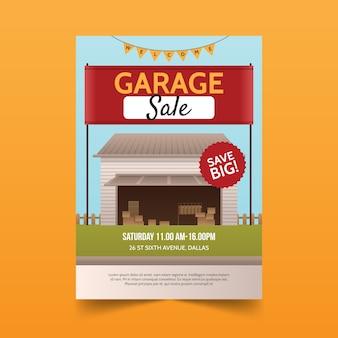 차고 판매 포스터 템플릿 개념