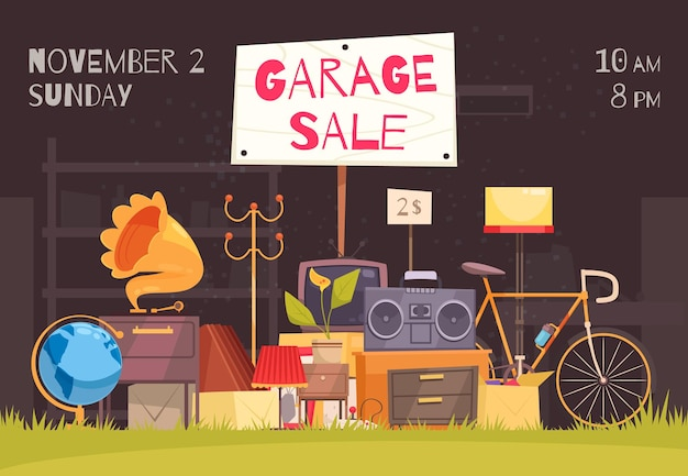 Garage sale poster with date and time symbols flat