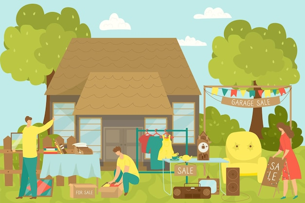 Garage sale, vector illustration. flat people character sell goods near home, second hand shop and flea market at house backyard.