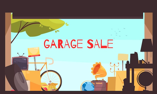 Garage sale with bicycle tv and furniture flat illustration