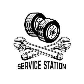 ガレージ。サービスステーション。自動車修理。ロゴ、ラベル、エンブレム、記号の要素。図