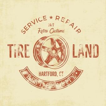 Garage service vintage tee badge