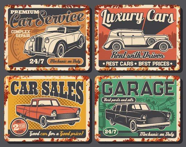 Garage station, rent, car sale rusty plates