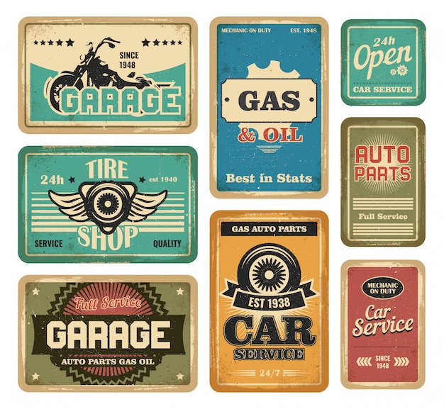 Garage vintage signs set