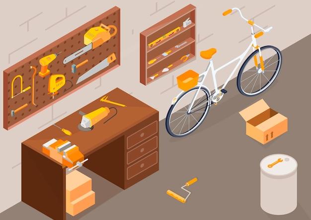 Garage workshop with working equipment isometric illsutration