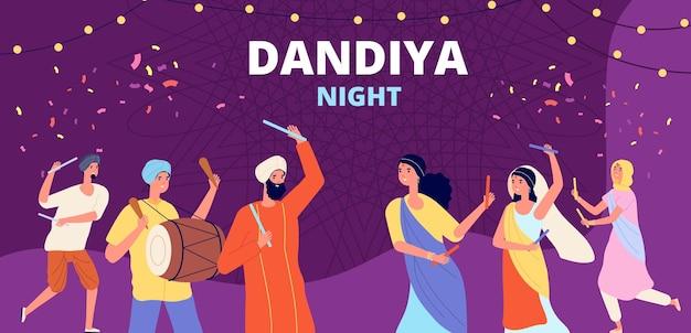Garba dandiya night banner. gujarat folk disco, girls boys holiday dancing. religion music festival, young indian couple vector illustration. celebration poster festival, garba dandiya dance