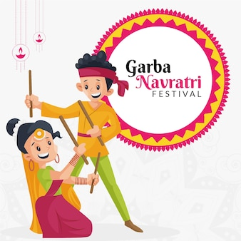 Garba navratri festival banner design template