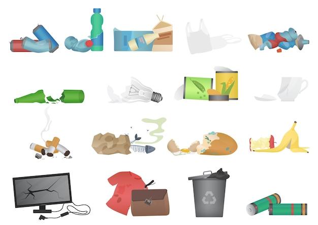 쓰레기와 폐기물 현실적인 아이콘 그림 설정