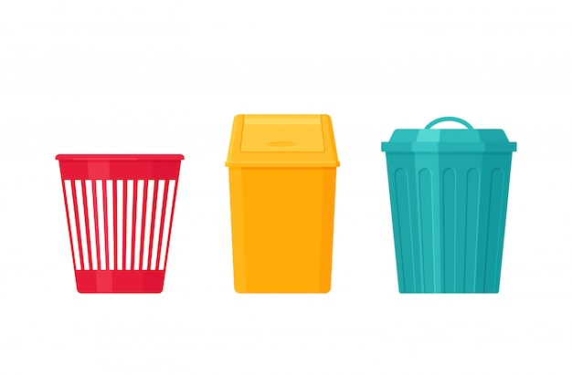 Мусорная корзина. урна для мусора. иллюстрации. плоский дизайн.