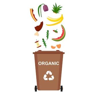 유기 폐기물, 재활용 쓰레기, 벡터 일러스트와 함께 쓰레기통