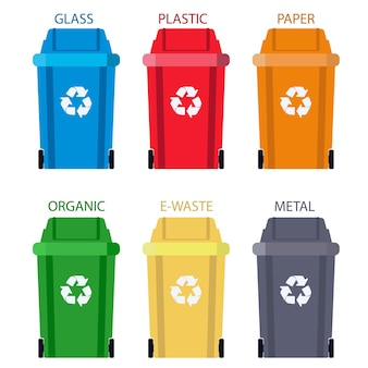 Мусорное ведро разделение отходов. утилизация мусора.