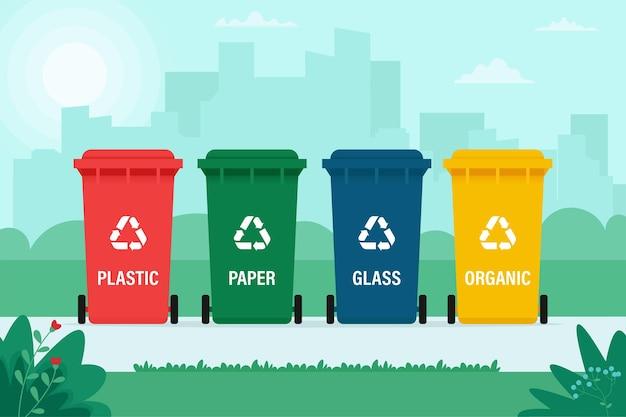 Мусорные баки для органических, бумажных, пластиковых, стеклянных отходов на фоне города. переработка, сортировка мусора, экология, концепция. иллюстрация в плоском стиле