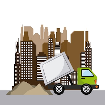 Garbage car over city background