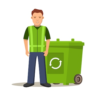 Garbage cleaner man or janitor.cleaning litter.garbage cans.recycling garbage separation bin green. deskside recycling container.