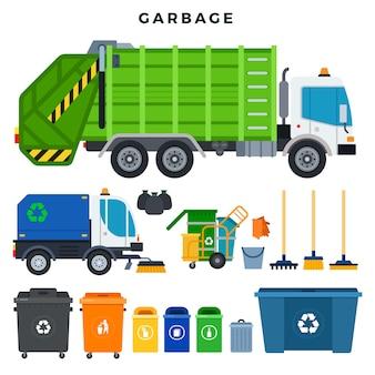 ゴミの収集と処分、セット。分別収集とリサイクルのための容器。ごみ除去用のすべて