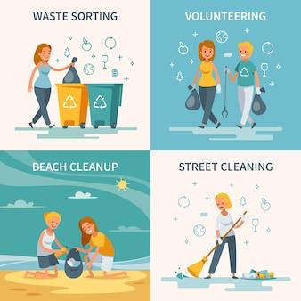 자원 봉사자 그림 청소와 가비지 수집 개념