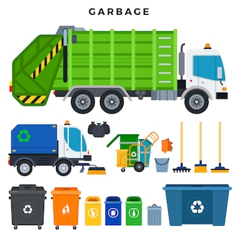 Garbage collection and disposal, set. containers for separate waste collection and recycling. all for garbage removal