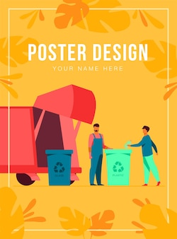 Garbage collector cleaning waste bin poster template