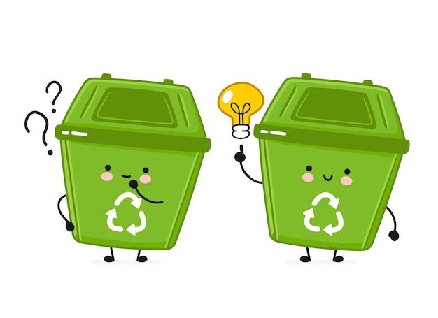 疑問符とアイデア電球が付いているゴミ箱