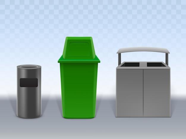ゴミ容器セット透明背景に分離されました。