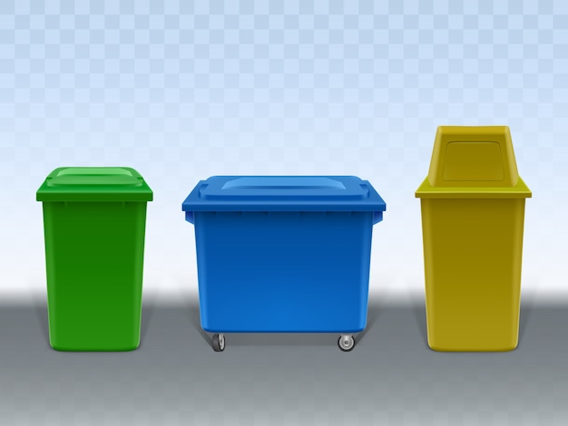 Garbage containers set isolated on transparent background.