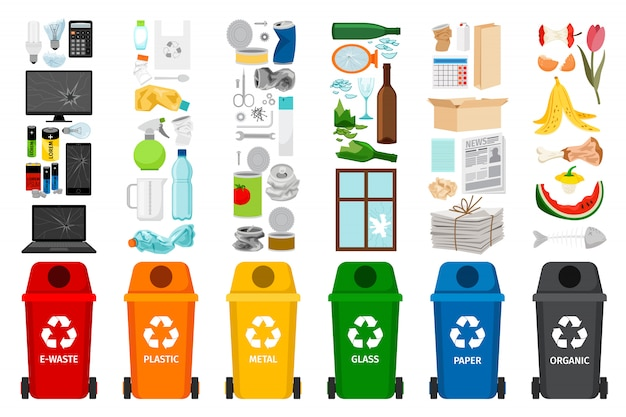 Garbage containers and types of trash  icons