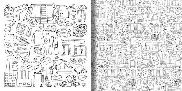 Garbage doodle objects set and seamless pattern trash doodle wallpaper textile prints