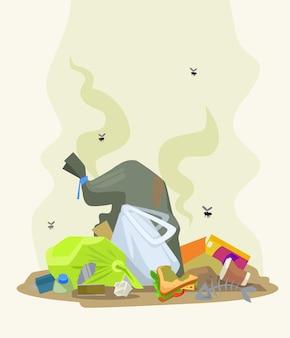 ゴミ捨て場。ベクトルフラット漫画イラスト