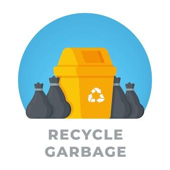 노란색 쓰레기통 근처 쓰레기 봉투의 쓰레기 그림. 매립지에 쓸 오래된 물건을 모으는 집 청소. 쓰레기 수거 서비스를 주문합니다.
