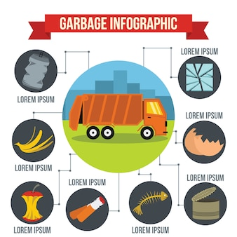 Garbage infographic concept, flat style