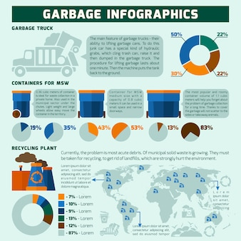 Garbage infographics set