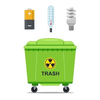 Мусорный железный контейнер для хранения опасного мусора