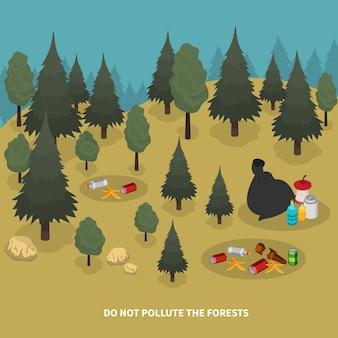 森の風景と地面のイラストに廃棄物の断片を持つ木の画像とゴミの等尺性の構成