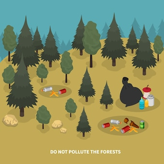 Garbage isometric composition with forest scenery and images of trees with pieces of waste on ground illustration