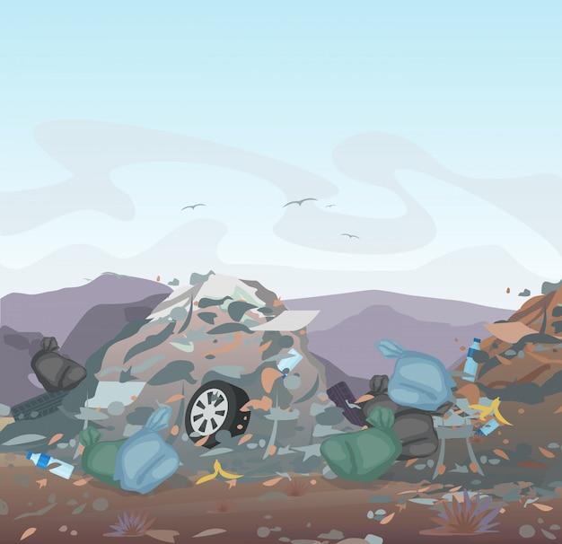 Мусор. свалка полна мусора на фоне гор. экология и утилизация, концепция загрязнения окружающей среды.