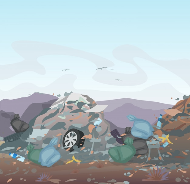 Garbage. landfill full of trash on mountains background. ecology and recycle, pollution environment concept.